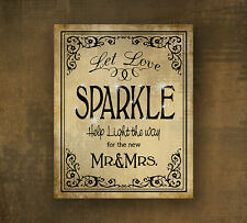 Let Love Sparkle Printed Wedding Sign 8x10 - for sparkler send off - black tie