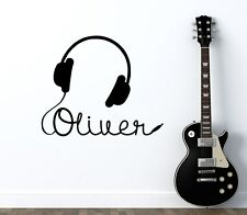 Boy Name Wall Decal Music Room Headphones Vinyl Sticker Nursery Teens Decor T260