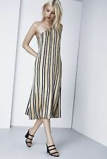 Finders Keepers More Time Dress Small Beige Black Stripe Midi One Shoulder NWOT
