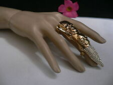 New Women Ring Gold Metal Long Finger Length Edgy Skull Spike Nail Rhinestones