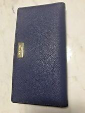 Kate Spade Newbury Lane Crossgrain Leather Stacy Wallet New- Indigo Blue $118