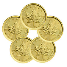 Lot of 5 - 2017 Canada $5 1/10 Oz Gold Maple Leafs (Sealed) *PRESALE* SKU44191