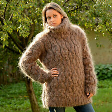 BROWN Hand Knitted Mohair Sweater FUZZY Soft Pullover EXTRAVAGANTZA M L XL