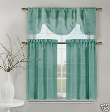 Teal Videira Gold Leaf Embroidery Kitchen Curtain Set Valance & Tiers