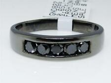 Mens Black Gold Finish Black Diamond 5 MM Wedding Engagement Band Ring .65 Ct