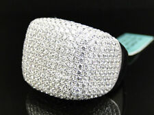 Mens Iced Out 3d XL Pave Simulated Lab Diamond Dome Pinky Band Ring