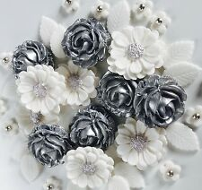 Silver White Roses Bouquet Handmade Wedding Flowers Cake Decorations Toppers