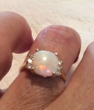 "14k Yellow Australian Opal Gold ""Glowing Heart"" Ring Cushion Cut Fiery Colors"