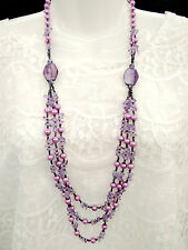 Stylish Multiple Hand Strung Chip Cut Amethyst & Faux Purple Pearl Long Necklace