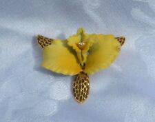 VINTAGE YELLOW ORCHID JOAN RIVERS PIN