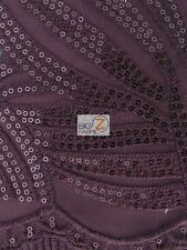 """DESIGNER EVENING DRESS LACE SEQUINS FABRIC - Purple - 56"""" WIDTH SOLD BY THE YARD"""
