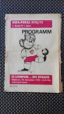 Original Football Programme BFC Dynamo Berlin Liverpool F.C. 1972 Uefa Cup DDR