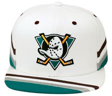 Mitchell & Ness Anaheim Mighty Ducks Snapback Hat Cap WHITE/Stripe Visor & Side