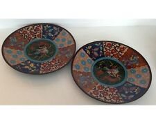 Pair of Antique Meiji Period Japanese Cloisonne Pheonix Dragon Butterfly Plates