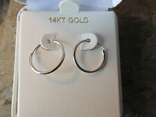 14KT White Gold Hoop Shiny Thin Endless Hoop Earrings 15 MM NEW Thin Light SMALL