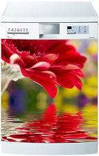 Sticker lave vaisselle déco cuisine électroménager fleur rouge réf 660 60x60cm