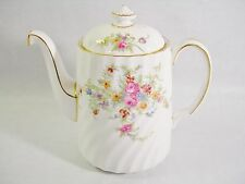 ~ MINTON LORRAINE COFFEE POT ENGLISH BONE CHINA PINK FLORALS GOLD ACCENTS PRETTY