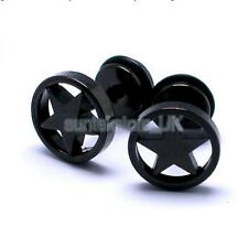 Fashion Mens Black Stainless Steel Round Pentagram Barbell Ear Stud Earrings