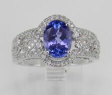 Tanzanite and Diamond Halo Engagement Promise Ring 14K White Gold Size 7