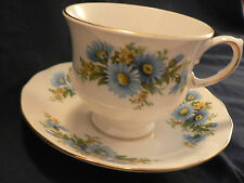 QUEEN ANNE TEA CUP AND SAUCER CHARMING BLUE DASIES