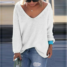 USA Women Casual Long Sleeve Knitted Pullover Loose Sweater Jumper Tops Knitwear