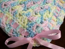 NEW Handmade Crochet Baby Blanket Afghan ( pink white yellow blue green )