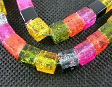 50 x 6mm Assorted Coloured Glass Cube Crackle Beads
