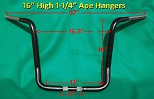 "16"" Black Ape Hanger 1-1/4"" Handle Bar fits Harley Davidson Street & Ultra Glide"