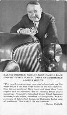 BARNEY OLDFIELD RACE CAR DRIVER CIGAR PLYMOUTH ADVERTISING CHICAGO EXPO POSTCARD