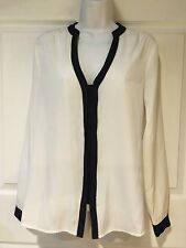 Maurices Women's Blouse White Sheer Black Trim Hidden front buttons Size Small