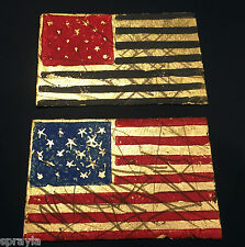 SABER - AWR MSK - GOLD GILDED FLAGS - BLACK + BLUE - 2010 SIGNED/MATCHING # SET!