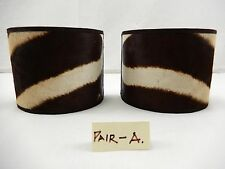 PAIR (2) REAL ZEBRA SKIN Clip-On SCONCE SHADES    Pair-A.