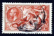 GB KG V 1934 5/-. Red Seahorses Waterlow Background Type B SG 451 (Spec.N74[1])