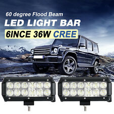 "2x 6""inch 36W CREE LED Work Light Bar Flood/Spot Offroad Driving UTE 4x4WD 12V"