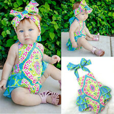 2PCS Toddler Infant Baby Girl Backless Romper Jumpsuit Bodysuit Clothes Outfits