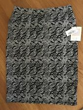 LuLaRoe Cassie Knit Pencil Skirt Black/White Floral Pattern Texture BNWT