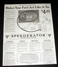 1918 OLD MAGAZINE PRINT AD, VERSAL SPEEDERATOR, MAKES YOUR FORD ACT LIKE A SIX!
