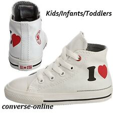 BABY Boy Girl CONVERSE All Star PRODUCT RED™ I LOVE HI TOP Trainers 19 SIZE UK 3
