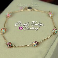 Pretty Rainbow Ball SWAROVSKI Elements CRYSTALS Bracelet,18K Rose Gold Plated