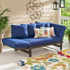 Blue Outdoor Patio Furniture Set Chair Lounger Futon Deck Pool Garden Wood Bed