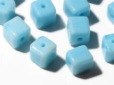 Lot (24) 8 mm Vintage Czech turquoise square cube sintered glass beads