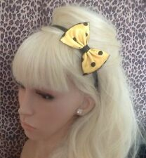YELLOW SATIN BLACK POLKA DOT SPOT TULLE NET SMALL SIDE BOW ALICE HAIR HEAD BAND