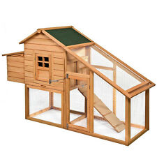 "75"" Deluxe Wooden Chicken Coop Backyard Nest Box Hen House Rabbit Wood Hutc"