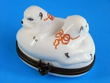 Limoges Hand Painted Hinged Trinket Box, Bonbonniere - Two Dogs Laying Together