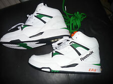 Reebok Pump ERS Trainers Mens 6 UK White Hi Top Spare Green Laces BNWOB