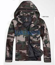 Stylish Mens Trench Coat Camouflage Military Jacket  Hooded Outdoor Outwear S-XL
