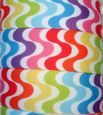 1.5 MALIBU WAVE RAINBOW BRIGHT STRIPE SUMMER GROSGRAIN RIBBON 4 HAIRBOW BOW