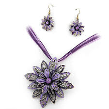 Flower Purple Rhinestone Necklace Jewelry Earrings Set FASHION