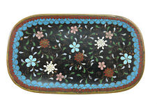 "Antique Japanese Cloisonne Enamel Pin Tray ~ Black Floral ~ 3"" x 5"""