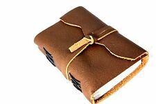 Soft Leather Handmade Journal Acid Free Notebook Small Diary With Cord 240 Pages